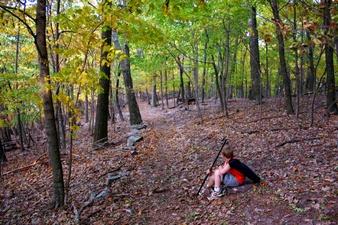 Little Hiker Tired Autumn Trail