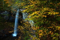 The wonderful high waterfalls at the falls of hills creek, during the peak of the autumn foliage. These waterfalls are nearly 65 feet high and are a spectacular sight during the fall season.