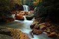 Douglas waterfalls during the fall foliage season.